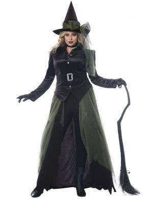 Plus Size Women's Green Gothic Witch Halloween Fancy Dress Costume Main Image