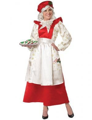 Women's Mrs Claus Red Pinafore Dress with Apron Christmas Costume - Main Image