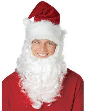 Santa Claus Hat with attached Beard Christmas Costume Accessory