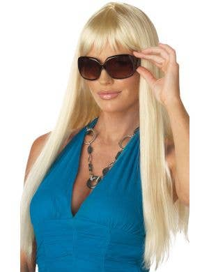 Long Blonde Straight Women's Wig With Fringe Image 1