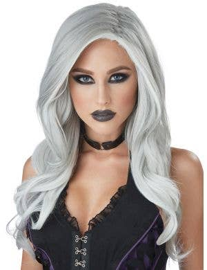 Womens Grey And White Ghostly Fatal Beauty Halloween Costume Wig