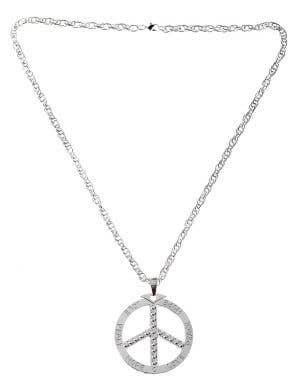 Silver Peace Sign Deluxe Long Hippie Costume Necklace
