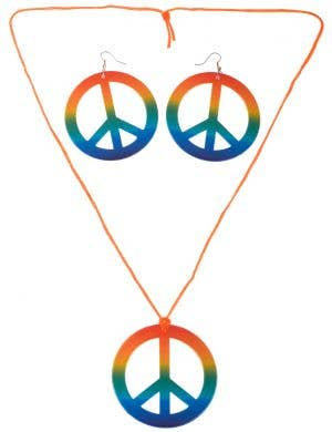 Rainbow Peace Symbol Necklace and Earrings Hippie Costume Accessory Set - Main Image