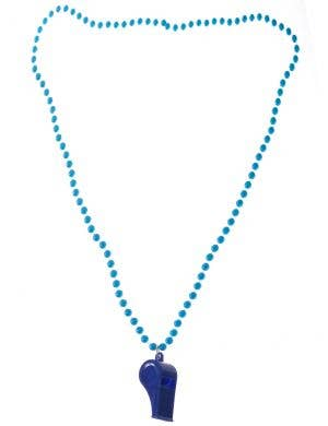 Neon Blue 80's Beaded Necklace with Disco Whistle