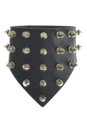 Silver Studded Black Leather Look Wrist Cuff
