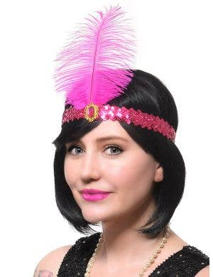 Hot Pink Sequins and Feather Flapper 1920's Costume Accessory Headband
