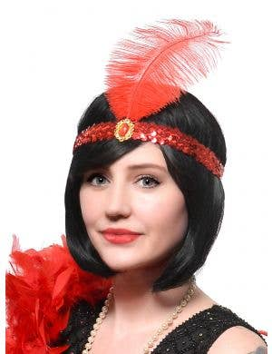 Red Feather and Sequins Roaring 20s Flapper Headband