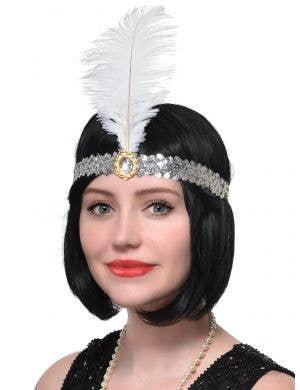 Silver Sequinned and White Feather 1920's Flapper Headband