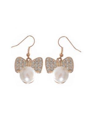 1980's Gold Pearl Rhinestone Earrings Costume Accessory