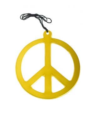 Jumbo Gold Peace Sign Necklace Costume Accessory