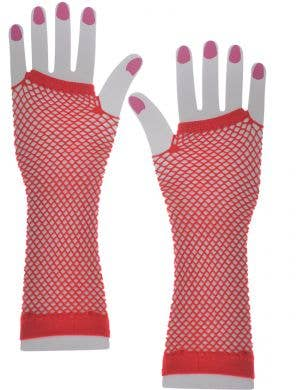 Long Red Fishnet Fingerless Gloves
