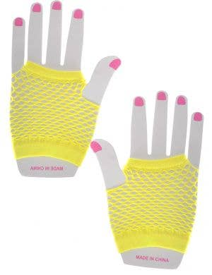 Short Neon Yellow Fishnet Fingerless Gloves