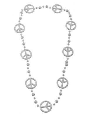 Peace Sign Silver 1970's Necklace Costume Accessory