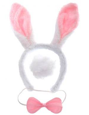 Easter Bunny Plush Pink and White Ears, Tail and Bow Tie Set