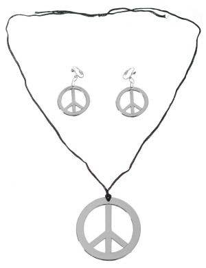 Hippie Silver Peace Sign Necklace and Earrings Set