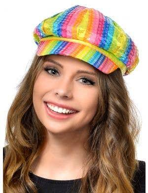 Rainbow Sequinned Disco Costume Cap