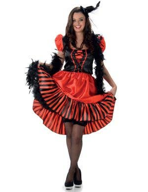 Women's Red Can Can Dancer Costume Main Image