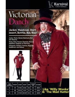 Victorian Dandy Men's Willy Wonka Costume