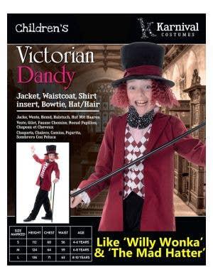 Victorian Dandy Boys Willy Wonka Costume