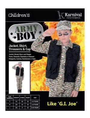 Camouflage Army Boy Fancy Dress Costume