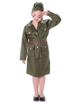 Girls Army General Fancy Dress Costume Main Image