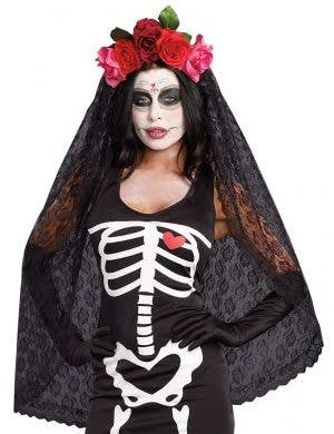 Women's Day of the Dead Black Lace Viel with Red Roses