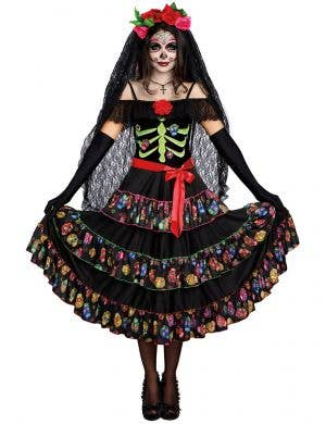 Women's Deluxe Day of the Dead Dress Up Costume Front Image