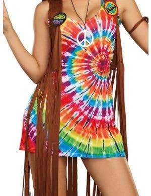 Hippie Hottie Women's 1970's Fancy Dress Costume