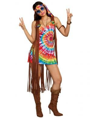 Women's Rainbow Hippie Hottie Costume - Main Image