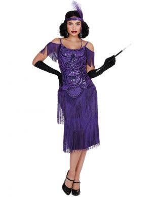 Women's Purple 1920's Gatsby Costume - Front Image