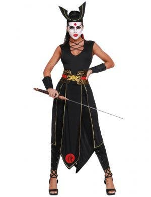 Women's Black Japanese Samurai Warrior Costume Front Image