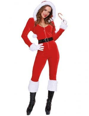 Women's Sexy Red and White Mrs Claus Costume Front Image