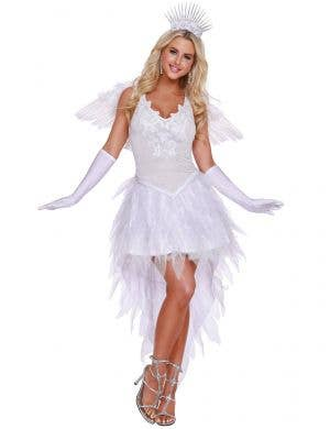 Women's Sexy White Angel Beauty Dress Up Costume Front Image