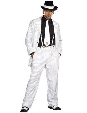 Plus Size Men's White Zoot Suit 1920s Dress Up Costume