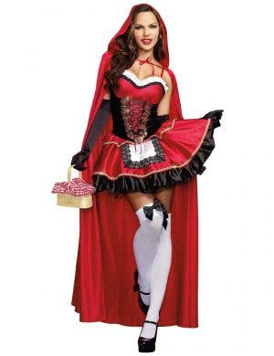Women's Sexy Little Red Riding Hood Dress Up Costume Front Image