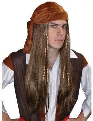 Men's Long Brown Pirate Wig with Bandana