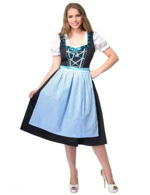 Women's Blue and Black Checkered Long Oktoberfest Costume Dress Front Image