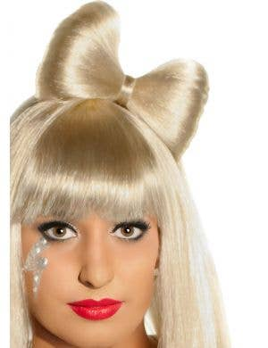 Long Blonde Costume Wig with Bow