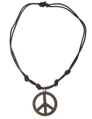 Rustic Bronze Peace Sign with Leather Cord Hippie Jewellery