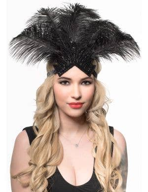 Black Feather Showgirl Headpiece with Beads