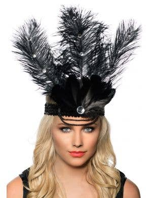 Black Tall Feather Headband for Flapper or Showgirl Theme