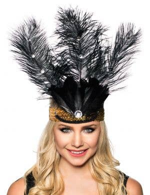 Tall Black Feather and Gold Showgirl Headband