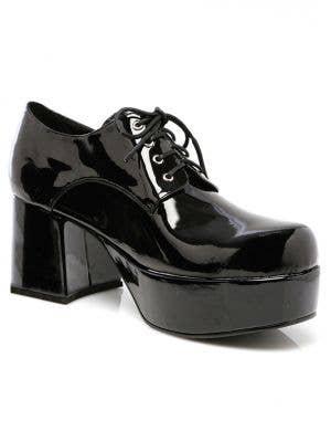 1970's Men's Black Patent Platform Costume Shoes