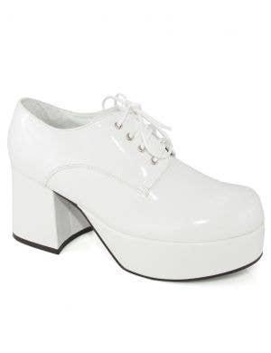 1970's Men's White Patent Platform Costume Shoes