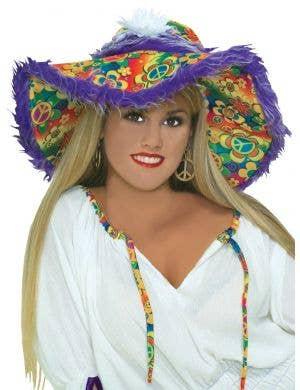 60's Rainbow Hippie Hat with Purple Fur
