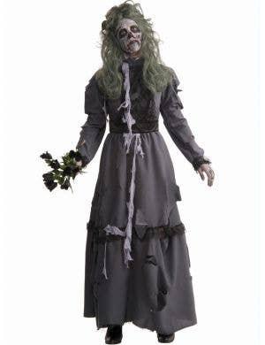 Women's Grey Zombie Lady Halloweeen Dress Up Costume Main Image