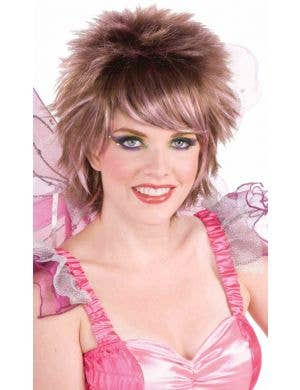 Fantasy Fairy Brown and Pink Pixie Cut Women's Wig