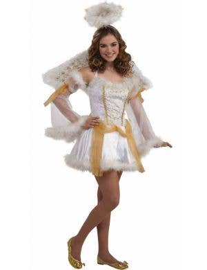 Heavenly Angel Teen Girls White and Gold Costume Front