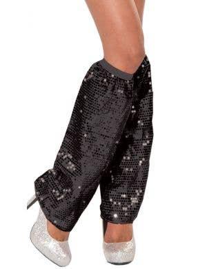 Club Dazzle Black Sequined Leg Warmers Costume Accessory