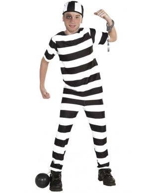 Prisoner Boy's Black and White Striped Book Week Costume Front